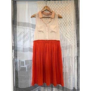 Anthro dress silky orange and cream Size 12